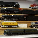 trains on shelves